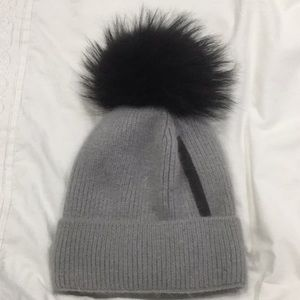 Accessories - Fox Fur Grey Hat with Black/Gray Tips Pom Hat